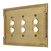 Neoclassical Triple Gang Push Button Switch Plate (item #R-010MG-460X)
