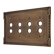 Neoclassical Quad Gang Push Button Switch Plate in Antique-By-Hand (item #R-010MG-463-ABH)