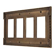 Neoclassical Quad Gang GFI Cover Plate in Antique-By-Hand (item #R-010MG-464-ABH)