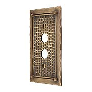 Bungalow Style Single Push Button Switch Plate In Solid Cast Brass (item #R-010MG-BGLW-1PBX)
