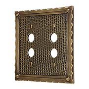Bungalow Double Push Button Switch Plate In Solid Cast Brass (item #R-010MG-BGLW-2PBX)