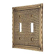 Bungalow Style Double Toggle Switch Plate In Solid Cast Brass (item #R-010MG-BGLW-2TX)