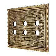 Bungalow Style Triple Push Button Switch Plate In Solid Cast Brass (item #R-010MG-BGLW-3PBX)