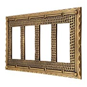 Bungalow Style Quad GFI Cover Plate In Solid Cast Brass (item #R-010MG-BGLW-4GX)