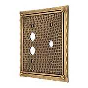 Bungalow Push Button/Rotary Dimmer Combination Switch Plate In Solid Cast Brass (item #R-010MG-BGLW-CPBX)