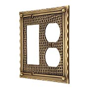 Bungalow Style Duplex / GFI Combination Switch Plate In Solid Cast Brass (item #R-010MG-BGLW-DGX)