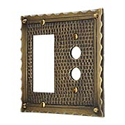 Bungalow Style Push Button / GFI Combination Switch Plate In Solid Cast Brass (item #R-010MG-BGLW-GPBX)