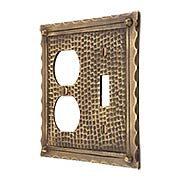 Bungalow Style Toggle / Duplex Combination Switch Plate In Solid Cast Brass (item #R-010MG-BGLW-TDX)
