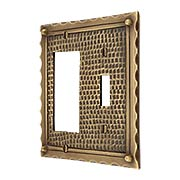 Bungalow Style Toggle / GFI Combination Switch Plate In Solid Cast Brass (item #R-010MG-BGLW-TGX)