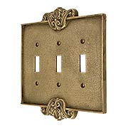 Art Nouveau Triple Toggle Cover Plate In Antique-By-Hand Finish (item #R-010MG-CP3T-ABH)