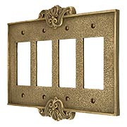 Art Nouveau Quad Gang GFI Cover Plate in Antique-By-Hand Finish (item #R-010MG-CP4G-ABH)