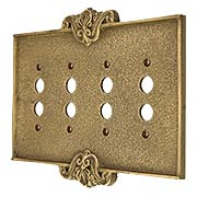 Art Nouveau Quad Gang Push Button Switch Plate In Antique-By-Hand Finish (item #R-010MG-CP4PB-ABH)