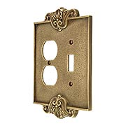 Art Nouveau Toggle / Duplex Combination Switch Plate In Antique-By-Hand Finish (item #R-010MG-CPTD-ABH)