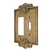 Art Nouveau Toggle / GFI Combination Switch Plate In Antique-By-Hand Finish (item #R-010MG-CPTG-ABH)