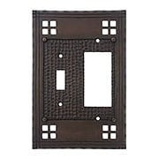 Arts and Crafts Toggle / GFI Combination Switch Plate in Oil Rubbed Bronze (item #R-010MG-SWMTGAC)