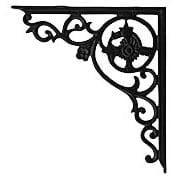 Floral Shelf Bracket In Matte Black - 13 1/8