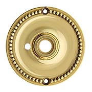 Beaded Brass Privacy Rosette for Pre-Drilled Doors - 3 1/4