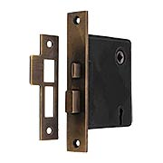 Reproduction Mortise Lock with Solid Brass Faceplate in Antique-by-Hand - 2 1/2