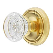 Traditional Rosette Set With Round Glass Door Knobs (item #R-01BM-8973RX)
