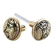 Pair of Oriental Pattern Door Knobs In Solid Cast Bronze (item #R-01CH-1301-US9A)