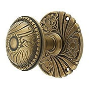 Roanoke Passage Rosette Door Set With Matching Knobs in Antique-By-Hand Finish (item #R-01CH-1505-TL-ABH)