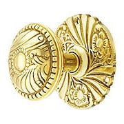 Roanoke Passage Rosette Door Set With Matching Knobs in Unlacquered Brass (item #R-01CH-1505-TL)