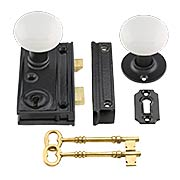 Cast-Iron Narrow Rim Lock Set with Small White Porcelain Knobs (item #R-01CH-2011-WHT)