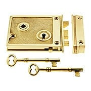 Solid Brass Horizontal Rim Lock With Choice of Finish (item #R-01DE-1022X)