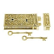 Solid Brass Scroll Design Rim Lock In Antique or Polished Finishes (item #R-01DE-1033X)