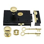 Cast Iron Carpenter Rim Lock Set With Brass Knobs & Trim (item #R-01DE-1036X)