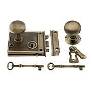 Solid Brass Horizontal Rim Lock & Knobs In Antique-By-Hand Finish (item #R-01DE-153-1022-ABH)