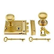 Solid Brass Horizontal Rim Lock & Knobs In Unlacquered Brass (item #R-01DE-153-1022-UL)