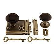 Antique Brass Horizontal Rim Lock Set With Brown Porcelain Door Knobs (item #R-01DE-BRN-1022-AB)
