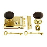 Polished Brass Horizontal Rim Lock Set With Brown Porcelain Door Knobs (item #R-01DE-BRN-1022-PB)