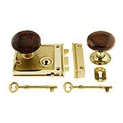 Polished Brass Horizontal Rim Lock Set With Bennington Style Porcelain Knobs (item #R-01DE-SBN-1022-PB)