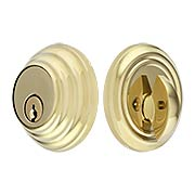 Solid Brass Single Cylinder Low-Profile Deadbolt (item #R-01EM-8455X)