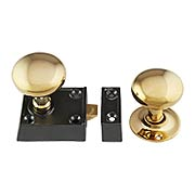Small Cast Iron Rim Latch Set with Round Brass Knobs (item #R-01HH-0160023-B153X)