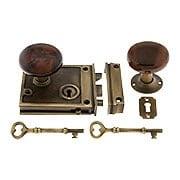 Solid Brass Horizontal Rim Lock Set with Bennington Style Porcelain Knobs (item #R-01HH-1022-SBNX)