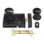 Cast Iron Horizontal Rim Lock Set with Small Iron Knobs (item #R-01HH-1023-CI153X)