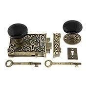 Solid Brass Century Rim Lock Set with Black Porcelain Knobs (item #R-01HH-1032-BLKX)