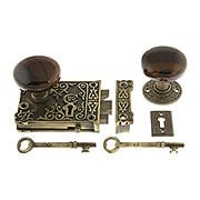 Solid Brass Century Rim Lock Set with Brown Swirl Porcelain Knobs (item #R-01HH-1032-SBNX)