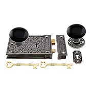 Cast Iron Scroll Rim Lock Set with Black Porcelain Door Knobs (item #R-01HH-C1033-BLKX)