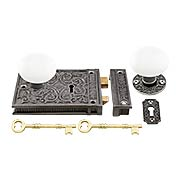 Cast Iron Scroll Rim Lock Set with White Porcelain Knobs (item #R-01HH-C1033-WHTX)