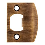 Solid Brass Full Lip Strike Plate with Square Corners in Antique-By-Hand (item #R-01HH-FL-STR-ABH)