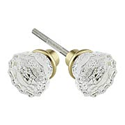Pair of Lead Free Fluted Crystal Door Knobs With Solid Brass Base (item #R-01HH-PK-FLTX)