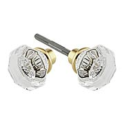 Pair of Lead Free Octagonal Crystal Door Knobs With Solid Brass Base (item #R-01HH-PK-OCTX)