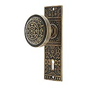 Solid Brass Windsor Pattern Mortise Lock Set with Matching Knobs in Antique-by-Hand (item #R-01HH-WIN-M-ABH)