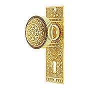 Solid Brass Windsor Pattern Mortise Lock Set with Matching Knobs in Un-Lacquered Brass (item #R-01HH-WIN-M-UL)