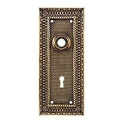 Pisano Cast-Brass Door Plate with Keyhole in Antique-By-Hand (item #R-01MG-PSN-2-ABH)