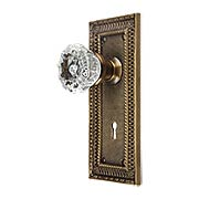 Pisano Design Mortise-Lock Set with Fluted Crystal Glass Knobs in Antique-By-Hand (item #R-01MG-PSN-C-M-ABH)